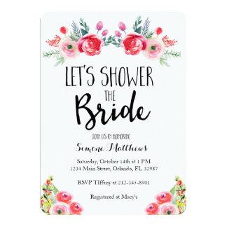 花嫁の花のブライダルシャワーの招待状に沢山与えて下さい カード