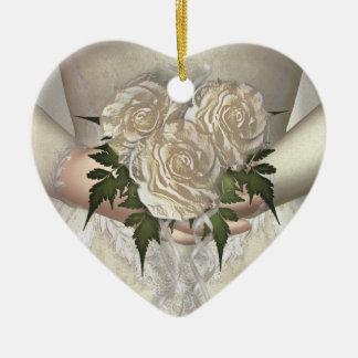 花嫁の花束の(白い)結婚式 セラミックオーナメント