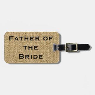 花嫁の荷物のラベルの素朴なバーラップの父 ラゲッジタグ