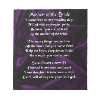 花嫁の詩の母-紫色の絹 ノートパッド