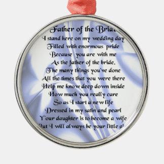 花嫁の詩の父-青い絹 メタルオーナメント