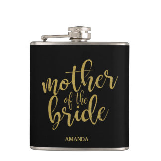 花嫁の金ゴールドのグリッターのブライダルシャワーの母 フラスク