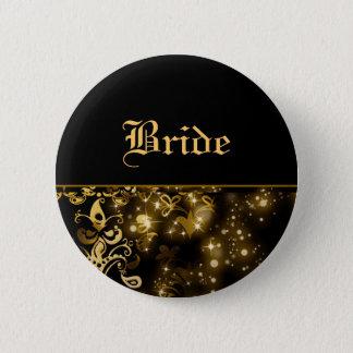 花嫁の金ゴールドの黒の結婚式のブライダルパーティ 缶バッジ