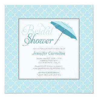 花嫁の青い傘のシャワーの招待状 13.3 スクエアインビテーションカード