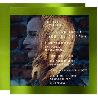 花嫁のFotoの卒業の誕生日のCaliの緑の金属 カード