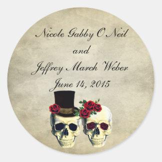 花嫁及び新郎のスカルの結婚式 丸形シール・ステッカー