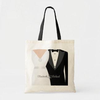 花嫁及び新郎のタキシード及び婚礼衣裳の名前をカスタムする トートバッグ