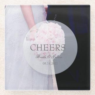 花嫁及び新郎の編集可能結婚式の応援 ガラスコースター