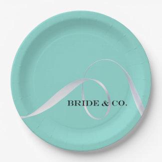 花嫁及びCOはリボンのパーティーの紙皿を個人化します ペーパープレート