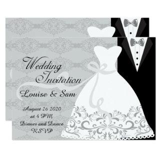 花嫁衣装および新郎のタキシードRSVP 12.7 X 17.8 インビテーションカード