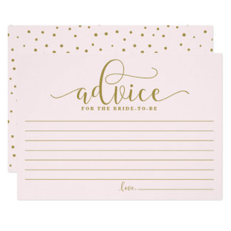 花嫁|の金ゴールド及びピンクの書道のためのアドバイス カード