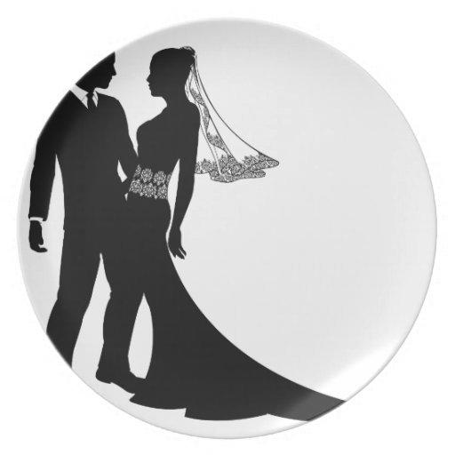 花嫁|新郎|結婚|カップル|シルエット ディナー皿