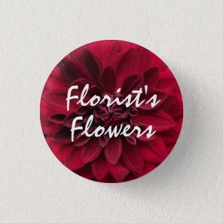 花屋の深紅の庭のダリアの花 3.2CM 丸型バッジ