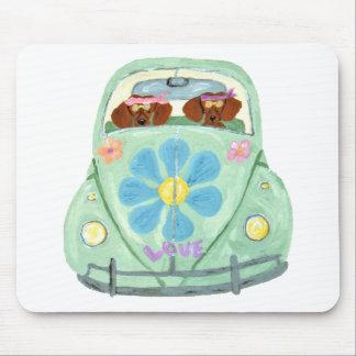 花愛可動装置のダックスフントのヒッピー マウスパッド