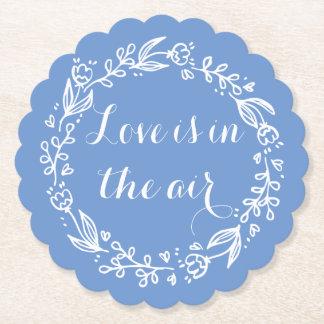 花愛青いヤグルマギクの花のリースの結婚式 ペーパーコースター