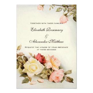 花旧式な庭のばら色の花を結婚するヴィンテージ カード