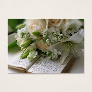 花束が付いている結婚式の名刺 名刺