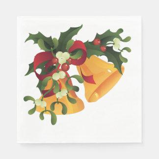 花束のヤドリギおよびヒイラギの果実のジングルベル スタンダードランチョンナプキン