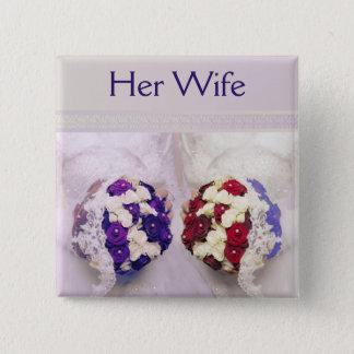 花束の花嫁のレズビアン彼女の妻のバッジ 5.1CM 正方形バッジ