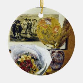 花束ピエールAugusteルノアールが付いている静物画 セラミックオーナメント