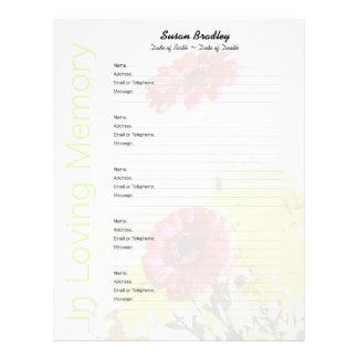 花束-記念の来客名簿のカスタムな注入口のページ レターヘッド