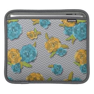 花柄およびシェブロンのiPadの袖 iPadスリーブ