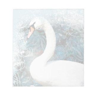 花柄によってが|渦巻く白鳥は個人化なります ノートパッド