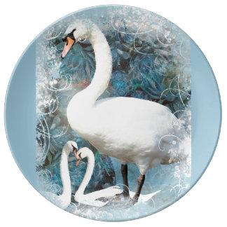 花柄によってが|渦巻く白鳥は個人化なります 磁器プレート