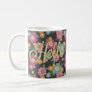 花柄のこんにちは豪華なマグ コーヒーマグカップ
