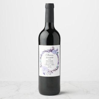 花柄のバラの紫色は結婚式のワインのラベルを残します ワインラベル