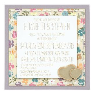 花柄の国の庭園の結婚式の招待状 カード