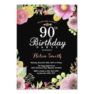 花柄の女性のための第90誕生日の招待状 カード