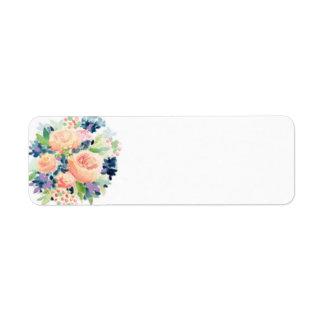 花柄の差出人住所ラベル ラベル