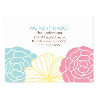 花柄の移動発表 ポストカード