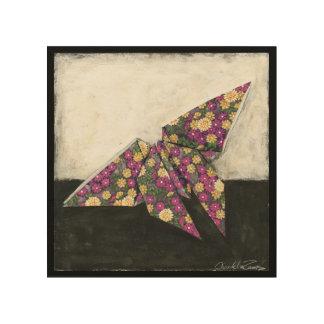 花柄の紙のOrigamiの蝶 ウッドウォールアート