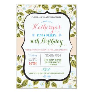花柄の葉第50の第40誕生会の招待 カード
