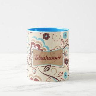 花柄の驚異のコーヒー・マグのコップ ツートーンマグカップ