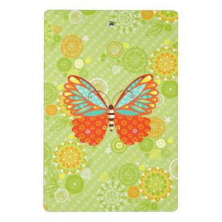 花柄のBohoの蝶-小型クリップボード ミニクリップボード