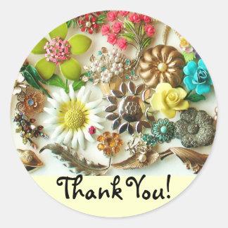 花柄はステッカー感謝していしています ラウンドシール