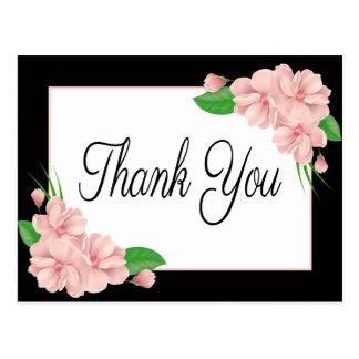 花柄はピンクの花の黒い結婚披露宴感謝していしています ポストカード