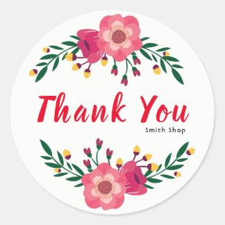 花柄は名前をカスタムするビジネス感謝祭感謝していしています ラウンドシール