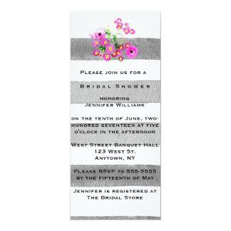 花柄は水彩画のブライダルシャワー招待状を縞で飾ります 10.2 X 23.5 インビテーションカード