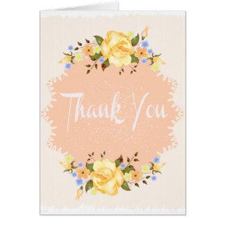花柄は黄色バラのぼろぼろのシックなモモ感謝していしています カード