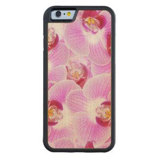 花柄はBGの放射蘭の自然の写真を抽出します CarvedメープルiPhone 6バンパーケース