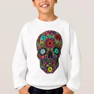 花柄を用いる色彩の鮮やかなスカル スウェットシャツ