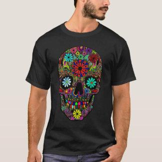 花柄を用いる色彩の鮮やかなスカル Tシャツ