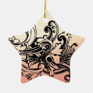 花柄デザインベクトル 陶器製星型オーナメント