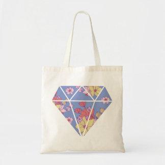 花柄パターンモダンなダイヤモンドの形 トートバッグ