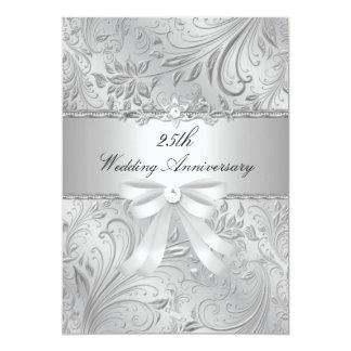 花柄及び弓第25結婚記念日の招待 12.7 X 17.8 インビテーションカード