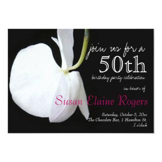花柄第50の誕生日2の招待状 カード